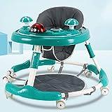 GXM-LZ Andadores de bebé Plegables con asa de Empuje, Andador de Actividades con música y Bandeja de Juegos extraíble, 7 Alturas Ajustables, adecuados para niños y niñas de 6 a 18 Meses,B Green