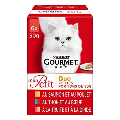 GOURMET - Duo : Saumon-Poulet, Thon-Bœuf, Truite-Dinde - 6x50g - Lot de 8