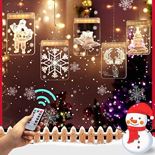 Christmas Decoration Lights, Christmas Tree LED Hanging Light with USB Plug, Remote Control Holiday Decoration Lights, Dimmable Creative 3D LED Curtain Lights Suitable for Various Scenes(Elk)