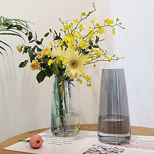 I3C Ins Moderne Glasvase Blumenvasen transparenter Vase Kristallglas Hochzeitsblumen für Hochzeitsdekrationen und formelle Abendessen Dekoration Blumenarrangements (grau)