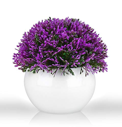 Mini Artificial Plant in White Ceramic Pot   Decorative Faux Plant for Home/Office Decor   Small Potted Topiary   Farmhouse Decor Accent   Desk/Kitchen/Bathroom/Shelf Fake Plant (Purple)