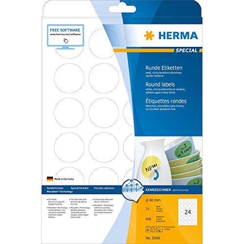 Herma 5066 - Pack de 600 etiquetas, diámetro 40 mm, color blanco
