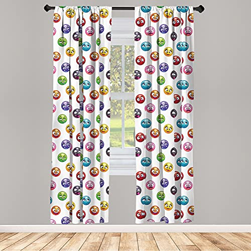 """Ambesonne Emoji 2 Panel Curtain Set, Cartoon Faces in Different Colors and Emotional States Crying Happy Tongue in Cheek, Lightweight Window Treatment Living Room Bedroom Decor, 56"""" x 84"""", White Red"""
