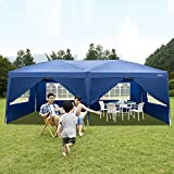 VINGLI 10X20 Feet Pop Up Canopy,Instant Tent,6 Removable Sidewalls,Folding EZ Up Canopy Tent,Patio Event Gazebo Beach Tent,UV Coated&Waterproof, Bonus Wheeled Carry Bag (Blue)