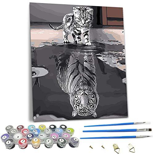 Puosike Malen Nach Zahlen Erwachsene, DIY Handgemalt Ölgemälde Kits für Kinder Anfänger, DIY Vorgedruckt Leinwand Geschenk für Home Wall Décor - Katze oder Tiger (15.7×19.7 Zoll)