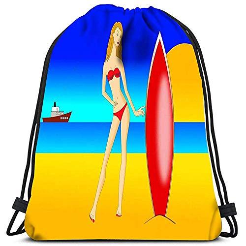 Dingjiakemao Traditionele Rugzak Trekkoord Rugzak Tassen Mooie Jonge Vrouw In Bikini Surfboard Strand Sport Gym Bag