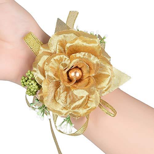 YQing, 2 braccialetti da polso con rosa dorata per damigella d'onore e damigella d'onore, per feste, balli studenteschi, decorazioni floreali