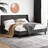 Einfach King Size Platform Bed Frame with Wingback Headboard / Fabric Upholstered Mattress Foundation with Wooden Slat Support, Dark Grey