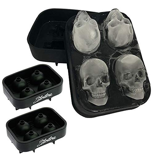Stritra - 3D Skull Ice Mold (Pack of 2) Easy Release Silicone Mold,8 Cute and Funny Ice Skull for Christmas Whiskey, Cocktails and Juice Beverages, Black