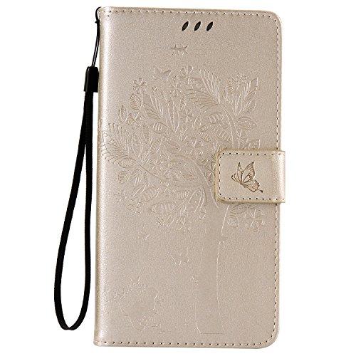 Lomogo Huawei Honor 5X Hülle Leder, Schutzhülle Musterprägung Brieftasche mit Kartenfach Klappbar Magnetverschluss Stoßfest Kratzfest Handyhülle Case für Huawei Honor 5X - EKATU23487 Gold