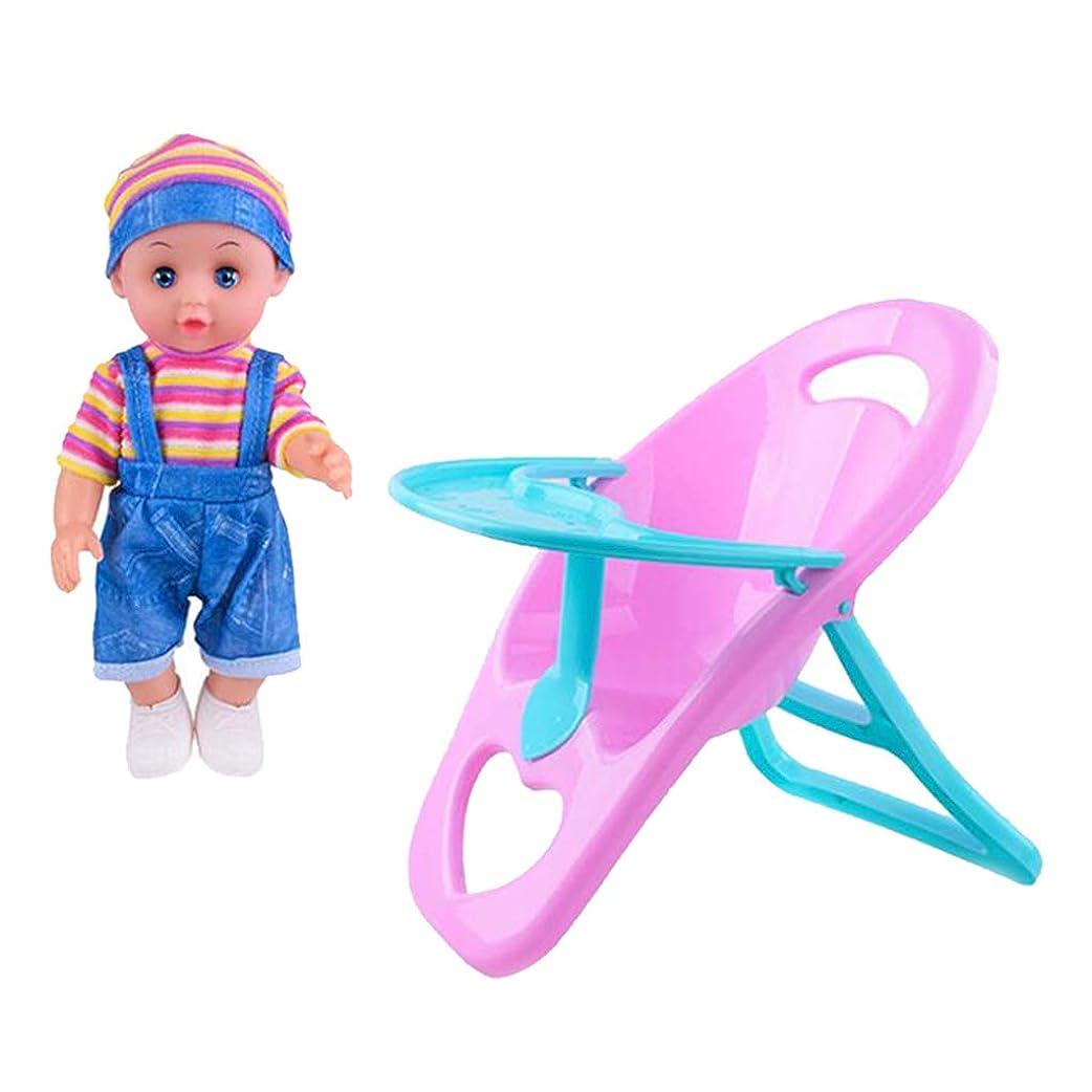 気がついて程度無視T TOOYFUL 子供はロールプレイのおもちゃのふりをする赤ちゃんの人形の食事の椅子の家具の子供のおもちゃ - B