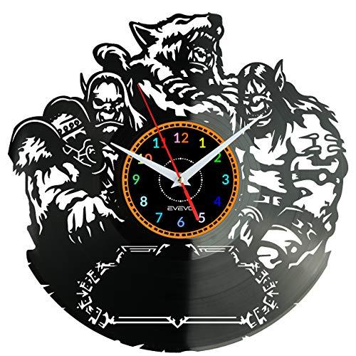 World of Warcraft-Spiel Wanduhr Vinyl Schallplatte Retro-Uhr Handgefertigt Vintage-Geschenk Style Raum Home Dekorationen Tolles Geschenk Uhr World of Warcraft-Spiel