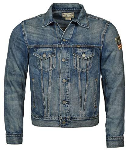 Polo Ralph Lauren Men's Denim USA Flag Trucker Jacket - L - Blue