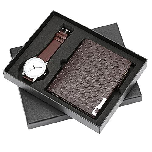 ZOZIZZ Conjunto de Regalos para Hombres Bellamente empaquetado Reloj + Billetera Conjunto de Cuero Creative Combinación Conjunto de Regalo Dulce para su Novio Marido Amante,B