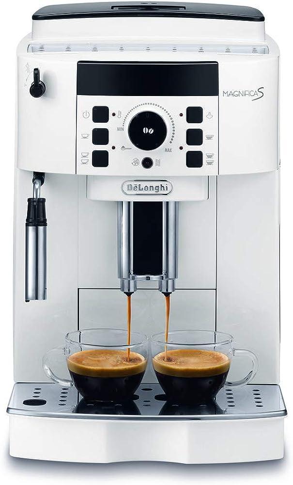 De`longhi magnifica,macchina da caffè automatica per espresso e cappuccino, caffè in grani o in polvere, 1450 ECAM21110W