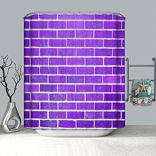 XCBN 3D Ziegel Wand Duschvorhang Geometrischer wasserdichter Duschvorhang Geeignet für Badezimmerdekoration A2 150x200cm
