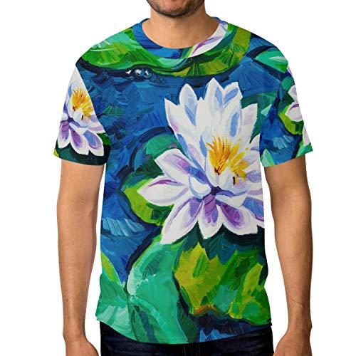 Camisetas para hombre pintura al óleo lirio de agua personalizado verano casual camisetas Multicolor multicolor 3XL