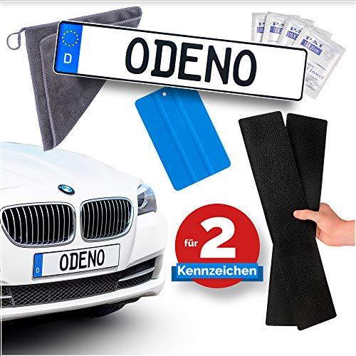 ODENO® ORIGINAL Klett Kennzeichenhalter-Set rahmenlos selbstklebend - Nummernschildhalterung für jedes Auto - extrem starker und wetterfester Kleber und Klettverschluss