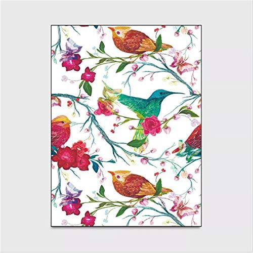 artkingdom Alfombra Alfombrillas Sala de Estar Dormitorio en casa Estilo de patrón de pájaro de Verano decoración Antideslizante para Dormitorio tamaño 80 * 160 cm