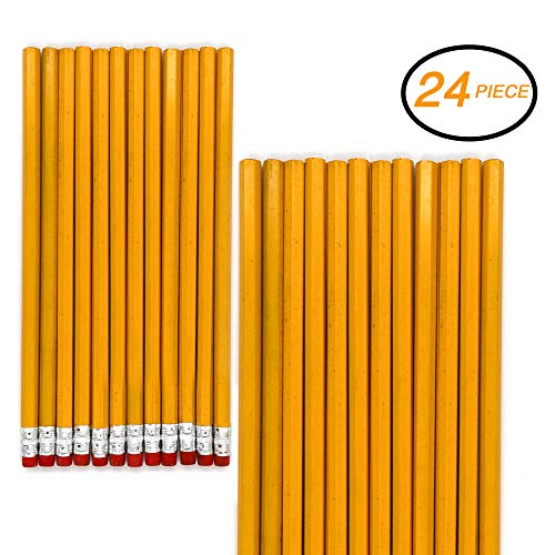 Emraw No 2 HB Wood Cased Pencils with Eraser Top, Bulk Pack of 24 Unsharpened Pencil - for Kids, Students, Teachers, Office and Home Use