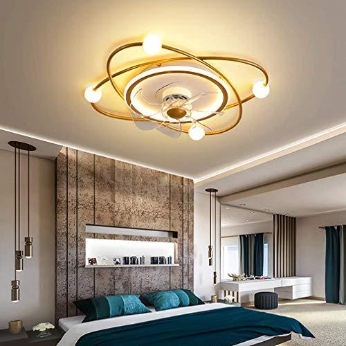 NZDY Ventilador de Dormitorio con Luz de Techo Led Y Control Remoto 3 Velocidades con Temporizador Dimmable Techo Ventilador Luz Moderna Sala de Estar Techo Techo Luz de Techo,Oro