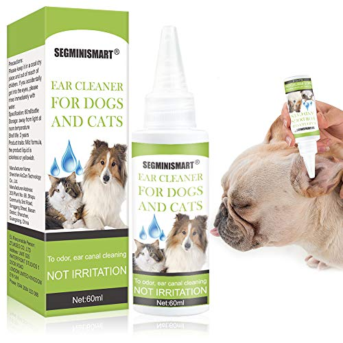 SEGMINISMART Dog Ear Cleaner, Ear Cleaner for Dogs and Cats, Pet Ear Cleaner for Removing Wax and Debris, Reduces Odor and Maintains Ear Cleanliness, Honeysuckle and Aloe Vera