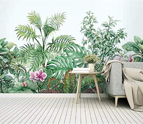 Tropical Nordic Wallpaper Wandbild Für Wohnzimmer Home Wanddekoration Wandkunst Floral Jungle Wallpaper fototapete 3d Tapete effekt Vlies wandbild Schlafzimmer-400cm×280cm