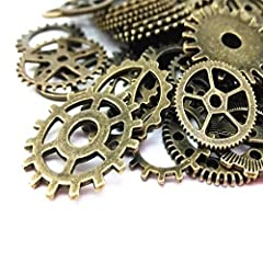 BeToper Assorted Antique Steampunk Gears Charms Pendant Clock Watch Wheel Gear for Crafting, Jewelry Making Accessory 100 Gram (Approx 70pcs) (Bronze) #1