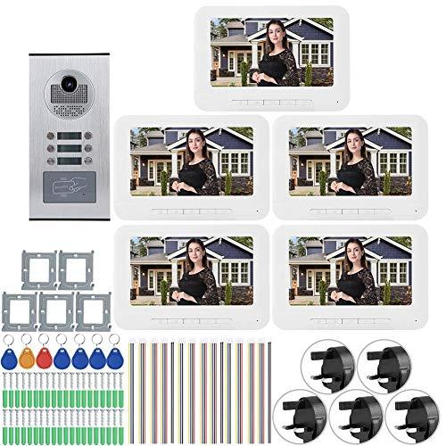 JUNYYANG Sistema de intercomunicación de Video con Cable, 5 Apartamentos 7in 1000tvl HD Video Door Phone Teléfono Camera de Timbre de la Puerta