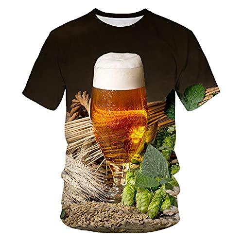 Astemdhj Camiseta de Manga Corta Camisa 3D Camiseta De Moda De Verano para Hombre, Impresión De Bebida De Cerveza, Ropa Informal para Hombre para Hombres XXXL T3225