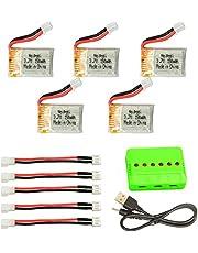Noiposi 五個セット 3.7v 150mah 30c リポ バッテリー 6点マルチ充電器 変換アダプターケーブル五個付き
