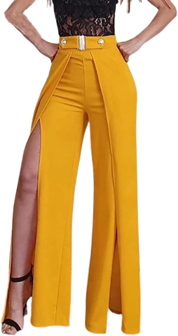 CHICME Women's Solid High Waist Slit Wide Leg Pants