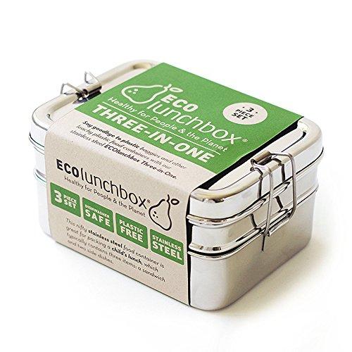 ECOlunchbox ♻️ Three-in-One, 3-teilige Brotdose aus Edelstahl | Lunchbox | Bento Box (Edelstahl, regular)