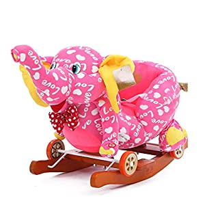Rocking Chair 2 In 1 Baby Rocking Horse,Kid Ride On Toy, Pink Elephant Rocker for 1-3 Year Old, Toddler Girl&Boy Wooden Outdoor Ride Horse, Soft Plush Nursery Rocking Animal, Infant/Child Garden Rocki