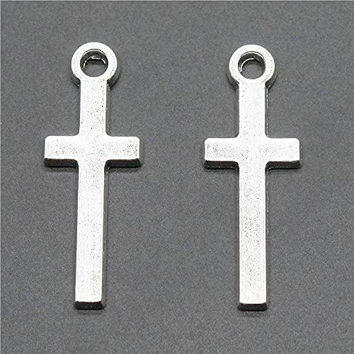 WANM Colgante 10 Uds Colgantes Cruzados De Color Plata Antigua 30X11Mm Joyería De Aleación De Metal Accesorios De Bricolaje