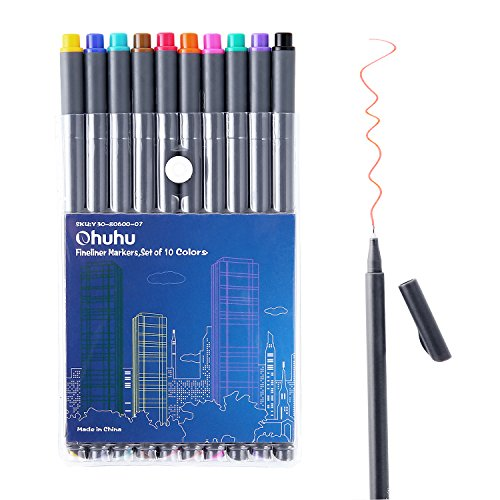 Ohuhu 10 Colors Fineliner Pens, 0.4mm Colored Fine Line Marker Marking Pen for Journal Book Sketch Drawing Fine Liner Coloring Book