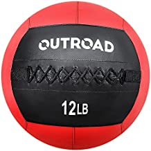 Max4out Wall Ball Medicine Balls, 12lbs Dead Weight Balls for Crossfit, Strength and Conditioning Exercises, Cardio and Core Workout, Red