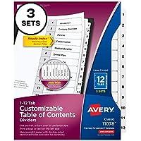 Avery Readyインデックステーブルの内容ディバイダー、12-tab、3セット( 11078)
