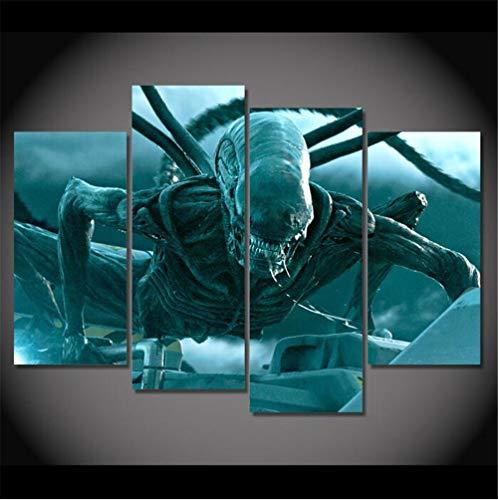 ZKPWLHS Leinwanddrucke 4 Stück Film Alien Warrior Poster Für Moderne Wohnzimmer Modulare Bild Wandkunst Wohnkultur Kein Rahmen Größe A