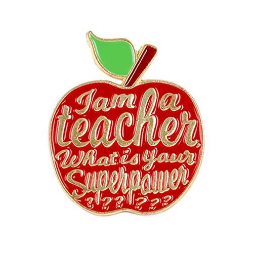 Holibanna Lehrer Brosche Brief Emaille Pins Apfel Anstecknadeln Pullover Kleidung Dekorative Geschenk für Mädchen Frauen Tasche Kleidung Jeans