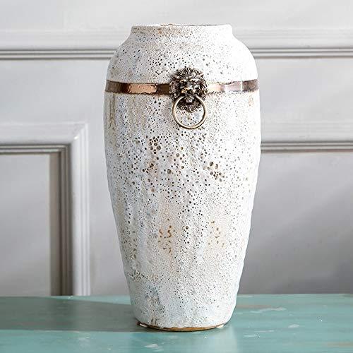 ASF15 Keramik Weiß Wohnzimmer Vase Japanische Art-Löwe-Form-Kupfer-Ring Hochtemperaturbrand handgemachte Fertigkeiten Ornaments Dry Flower hydroponischen Pflanzenübertopf (Color : 3-Piece Set)