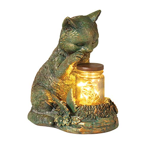 WHAT ON EARTH Lighted Kitten Sculpture - Solar LED Light-up Cat with Jar of Fireflies Garden Statue Lawn Ornament Yard Decor