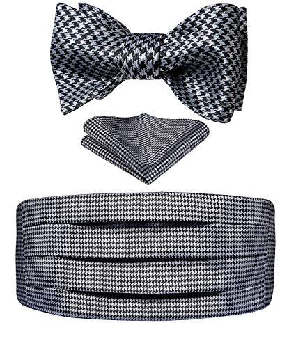 HISDERN Men's Cummerbund Bow Tie Set Paisley Floral Formal Self Tie Bowtie Pocket Square Set for Party Wedding