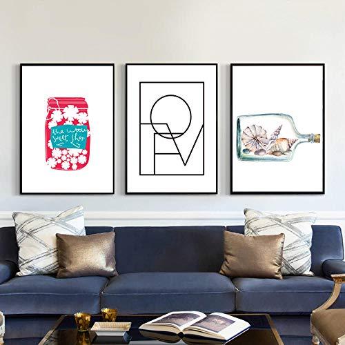 hdbklhjxk canvas schilderij veer Nordic poster abstract kunst huis decoratie liefde canvas schilderij fles muurschilderingen voor slaapkamer geschenk 40x60cmx3 niet ingelijst