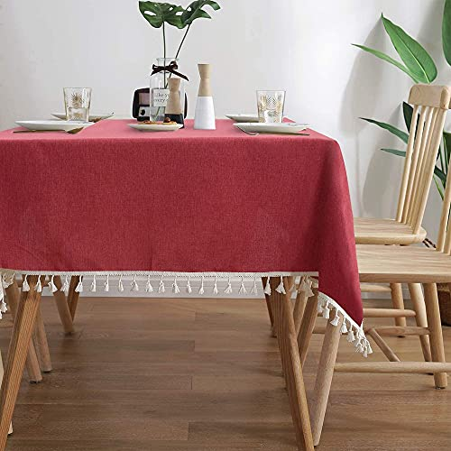 Mantel Rectangular sólido Moderno con Cubierta de Mantel de Lino de algodón de Encaje para decoración de Mesa de Fiesta en casa K140x180cm