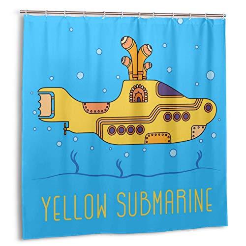 MAYUES Cortina de Ducha, 19 de noviembre de 2017.Ilustración Editorial de The Beatles Yellow Submarine Bath Curtain Set con Ganchos