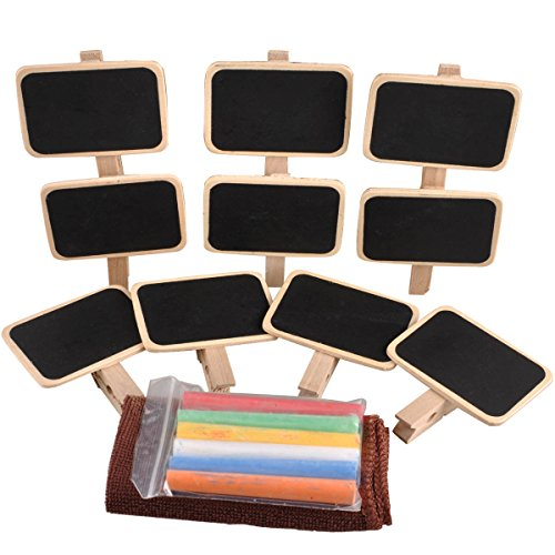 UCEC Mini Chalkboard with Clip Wooden Message Board Wooden Blackboard Clip for Wedding Wedding Party Decrations