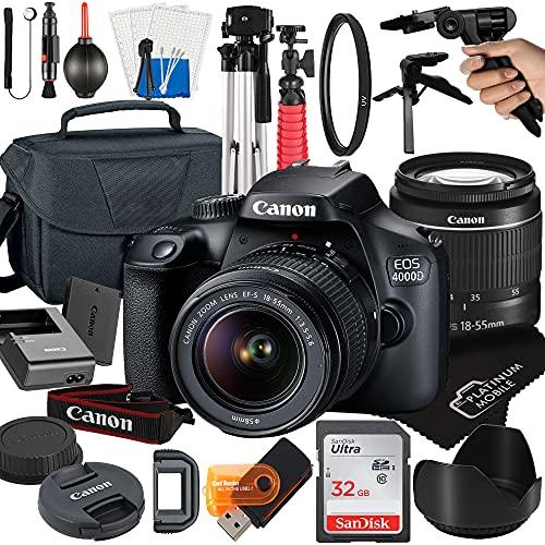 Canon EOS 4000D / Rebel T100 DSLR Camera with 18-55mm Lens + Platinum Mobile Accessory Bundle Package Includes: SanDisk 32GB Card, Tripod, Case, Pistol Grip and More (21pc Bundle)