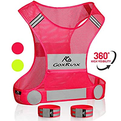 Reflective Vest Running Gear, Lightweight Motorcycle Cycling Reflective Vests with Large Pocket & Adjustable Waist for Women Men Running Safety Vest with Reflective Bands (Pink, Medium)