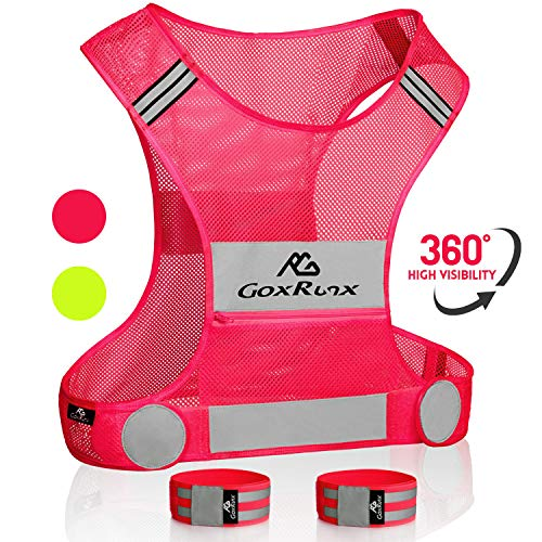 GoxRunx Reflective Vest Running Gear, Lightweight Motorcycle Cycling Reflective Vests with Large Pocket & Adjustable Waist for Women Men, Running Safety Vest with Reflective Bands (Pink, Large)